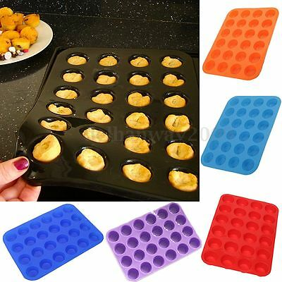 24 Cavity Silicone Muffin Cupcake Chocolate Cookie Bakeware Mold Mould Pan Tray