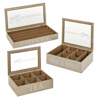Wooden Tea Boxes Or Coffee Capsule Holder Storage Container Glass Lid Spice Food