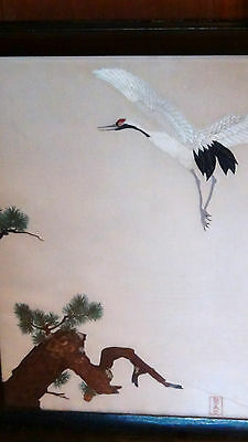 EARLY 20c JAPANESE SILK EMBROIDERY DEPICTS A CRANE &PINE TREE, SIGNED,FRAMED
