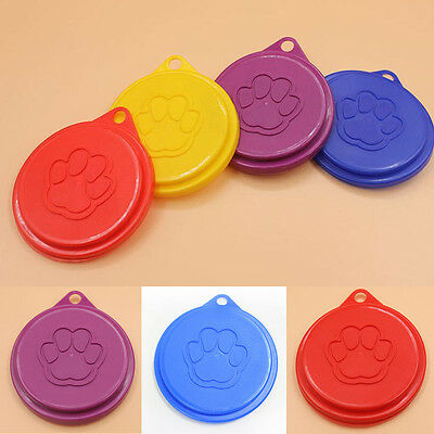 2/4X Pet Food Can Cover Lids Dog Cat Pets Tin Plastic Reusable Covers Caps Top