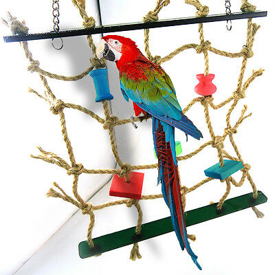 1pc Acrylic Rope Net Swing Ladder Toys for Pet Parrot Birds Chew Play Climbing