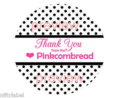 Customized Business Thank You Sticker Labels  - Black Polka Dot Background #24
