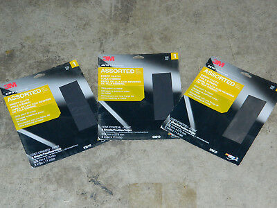 "(3) PACKS OF 3 NEW 3M 03010 EMERY CLOTH 9"" x 11"" ASSORTMENT FINE MEDIUM COARSE"
