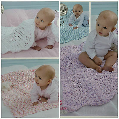 KNITTING PATTERN Baby Blankets 4 Styles Yummy Chunky King Cole 4533