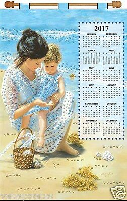 """Design Works Jeweled Beads Kit 16"""" x 24"""" Calendar 2017 ~ MOTHER AND CHILD #4207"""