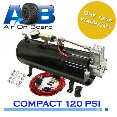 680 Air compressor 12 v & 3L tank Kit tyre inflator horn Hilux Patrol Pajero