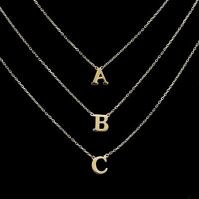 14K Yellow Gold Initial A-Z Letter Charm Pendant Cable Link Chain Necklace Set