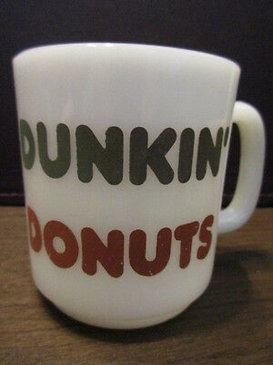 Vintage Advertising - GLASBAKE - DUNKIN' DONUTS - MILK GLASS - Coffee Mug