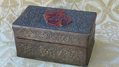 Antique Chinese Rare Brass Relief Box W/Red Carved Cinnabar Medallion On Top