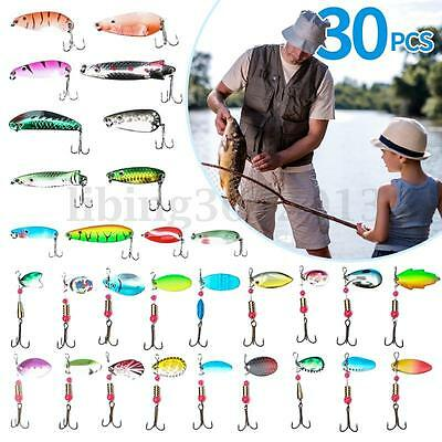 30pz Esche Artificiali Pesca Spinning Mare Fiume Fishing Lures CrankBaits Tackle