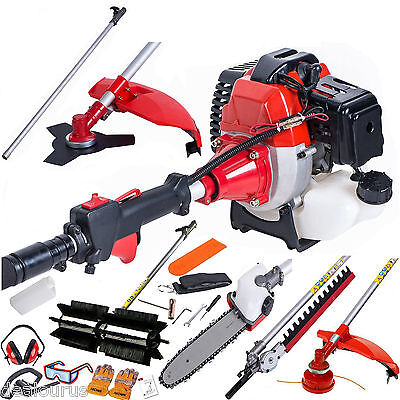 Multi Function Garden Tool 5 in1 Petrol Strimmer, Brush Cutter Chainsaw Sweeper