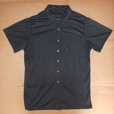 NWT Black Snap Front Crepe Short Sleeve Shirt Mens Medium Dance Costume