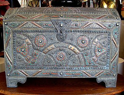 Rare Antique Intricately Tooled Metal / Copper Enamel Enhanced Domed Chest Trunk