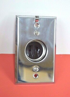 Vintage NEW IN BOX Electrical Clock Outlet Receptacle Flush Mount CHROME USA