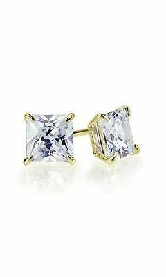 1.00 Ct Princess Cut Stud Earrings Solid 14K Yellow Gold