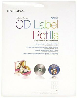 Memorex CD/DVD Labels 50 -Pack, Matte White, New, Free Shipping