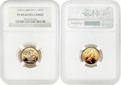 Great Britain 1990 1/2 Sovereign Gold NGC PF69 ULTRA CAMEO