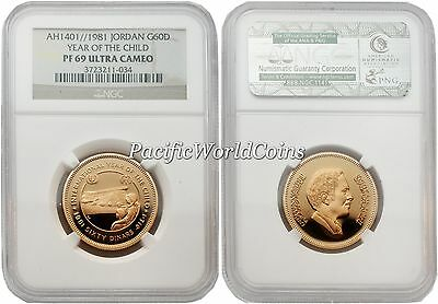 Jordan 1981 Year of Child 60 Dinar Gold NGC PF-69 ULTRA CAMEO