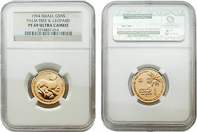Israel 1994 Palm Tree & Leopard 5 New Sheqalim 1/4 oz Gold Proof Coin NGC PF69