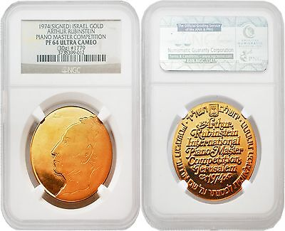 Israel 1974 Picasso signed Arthur Rubinstein Piano Master Competition Gold NGC64