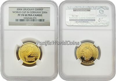 Uruguay 2004 World Cup in Germany 2006 5000 Pesos Gold NGC PF70 ULTRA CAMEO