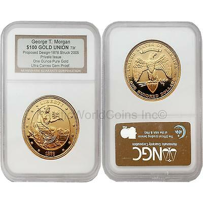 USA 2005 George T. Morgan $100 Gold Union Private Issue NGC Proof