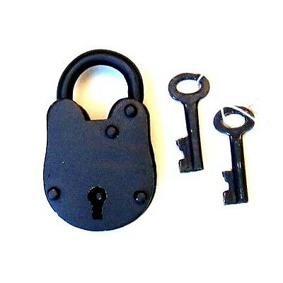 "Antique Lock Old Style With Keys 2.75""H - Padlock  - Iron Lock & Keys - Pirate"