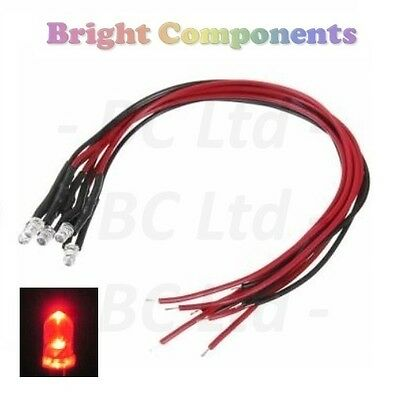 Candle/Flickering Pre-Wired Red LED 3mm : 9V ~ 12V : 1st CLASS POST