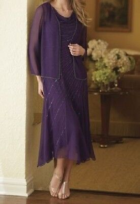 Beaded 2-Piece Jacket Dress wedding formal by Midnight Velvet new small & large