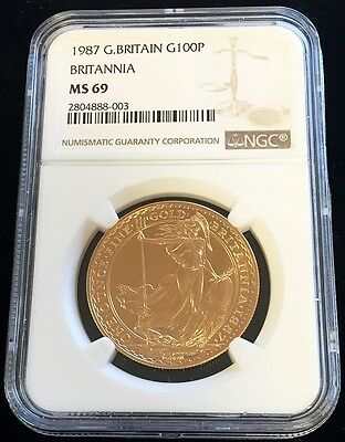 1987 Gold Great Britain 100 Pounds Britannia Coin Ngc Mint State 69