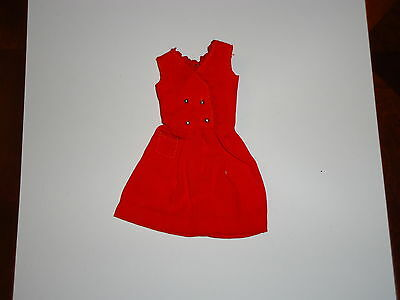 Vintage Barbie Skipper Doll Red Summer Sleeve Less Pocket Dress, Tagged 1963