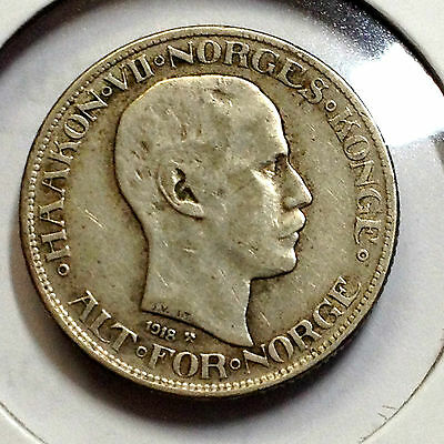 Norway 1918 Fifty Ore Ore Scarce Silver Coin