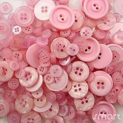 50pcs Assorted Bulk Pink Theme Round Resin Buttons Lot Craft Sewing Scrapbook