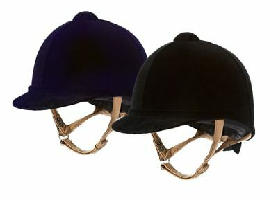 Charles Owen Fian Riding Hat Helmet with Flesh Harness - Black or Navy