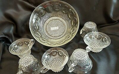 Vintage Decorative Glass  Beaded Bullseye Bowl and Lot of 6 punch cups