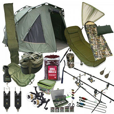 Full Carp Fishing Set Up With 2 Man Bivvy Bedchair Sleeping Bag Tackle Boilies