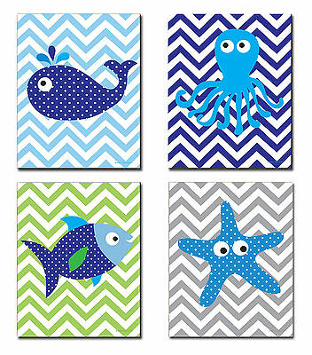 The Kids Room Sea Creatures with Chevron Quad 4 Piece Wall Plaque Set