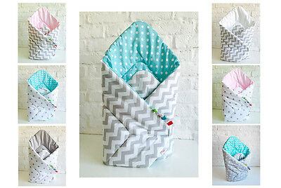 H&D REVERSIBLE SWADDLE WRAP BABY BLANKET Cotton Newborn sleeping bag crib pram
