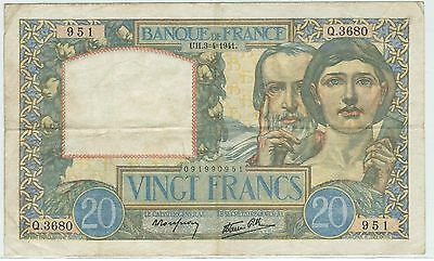 Billet 20 Francs Science Et Travail Uh 3 4 1941 951 Q 3680