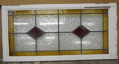 """LARGE OLD ENGLISH LEADED STAINED GLASS WINDOW Pretty Geometric 21.5"""" x 43.75"""""""