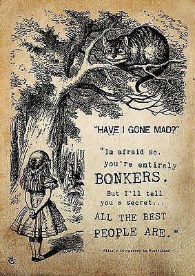 Alice Wonderland Bonkers AWB01 CHESHIRE CAT A3 POSTER PRINT BUY 2 GET 3RD FREE