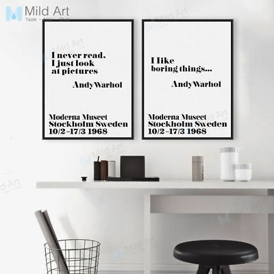 Modern Black White Andy Warhol Life Quote Poster Print Canvas Painting Home Deco