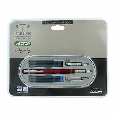 Parker Vector Standard Red CT Calligraphy Fountain Pen Set NEW ONE Free Ship