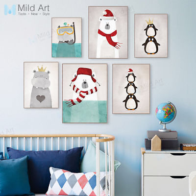 Kawaii Bear Poster Print Picture Kids Room Decor Wall Art Animal Canvas Painting