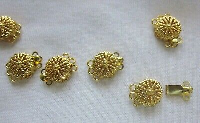 2 Gold Plated 3-3 Box Clasps 15x11mm #3314
