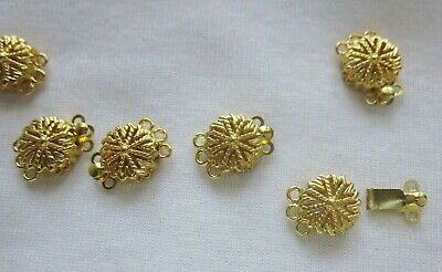 5 Gold Plated 3-Strand Box Clasps 15x11mm #3314 Combine Post-See Listing