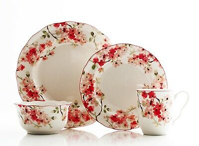 222 Fifth Cherry Blossom Red 16 Piece Dinnerware Set