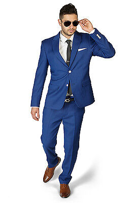 Slim Fit 2 Button Peak Lapel Indigo Blue BeeHive Dapper Design Suit By AZAR 1706