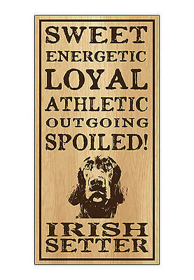 Wood Dog Breed Personality Sign - Spoiled Irish Setter - Home, Office, Gift