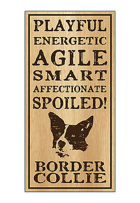 Wood Dog Breed Personality Sign - Spoiled Border Collie - Home, Office, Gift